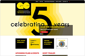 Homepage of Gold Coast International Film Festival website