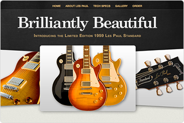 Homepage of guitar website